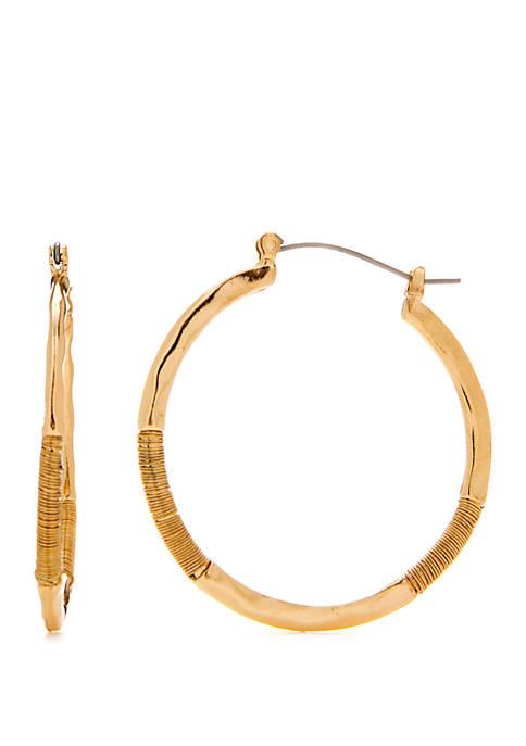 Gold Tone Wire Wrapped Hoop Earrings
