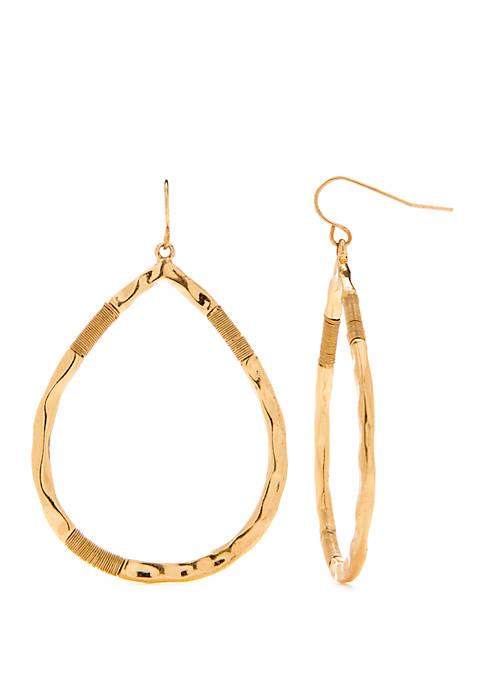 Gold Tone Wire Wrapped Teardrop Earrings