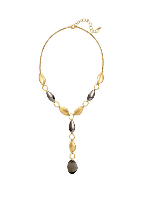 Gold and Hematite Tone Short Y Necklace