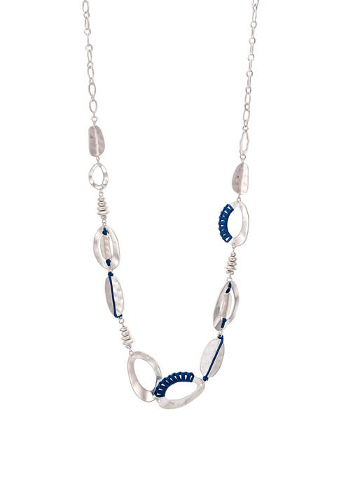 Long Blue Wrapped Link Silver Tone Necklace