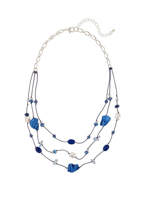 3 Row Blue Bead Short Illusion Necklace