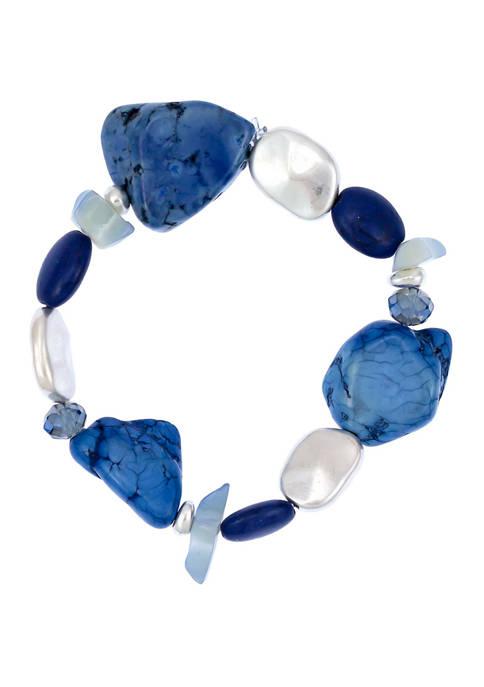 One Row Bead Stone Slab Stretch Bracelet