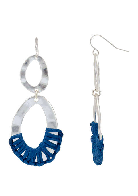 New Directions® Blue Double Link Drop Earrings with