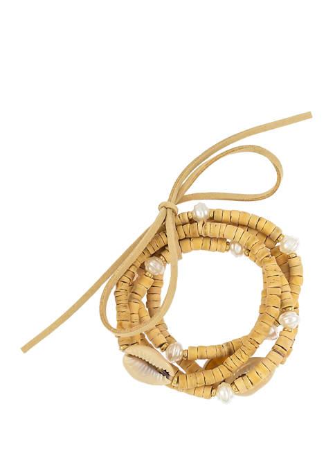 5 Row Puca Shell Beaded Stretch Bracelet