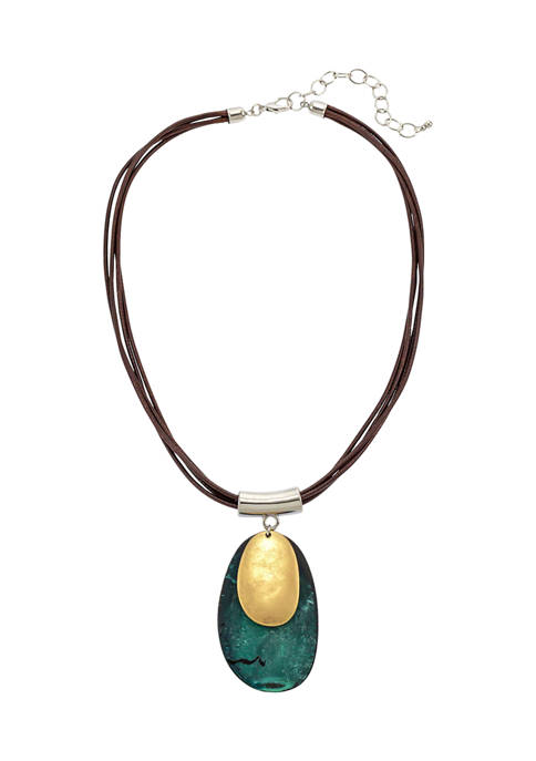 Patina and Gold Tone Overlay Double Pendant with Multi Strand Cord Back Necklace