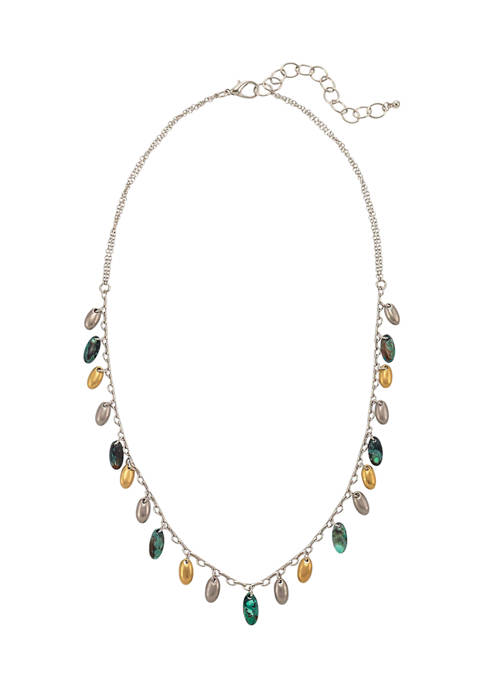 Short Link Necklace with Silver, Gold, and Patina Colored Metal Bead Drop Offs