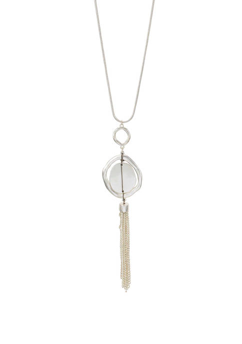 New Directions® Long Wrapped Orb Pendant Silver Tone