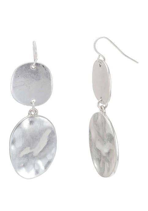 Double Oval Silver Tone Disk Drop Earrings