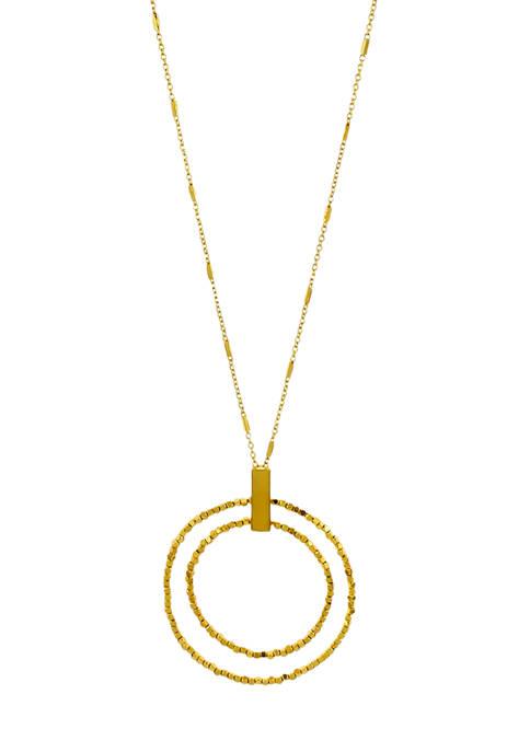 Belk Gold Tone Long Bead Double Ring Pendant