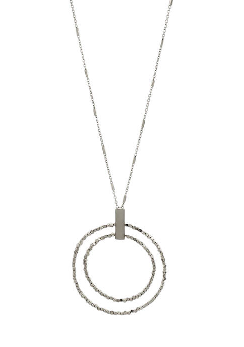 Long Doubel Metal Beaded Ring Pendant Necklace