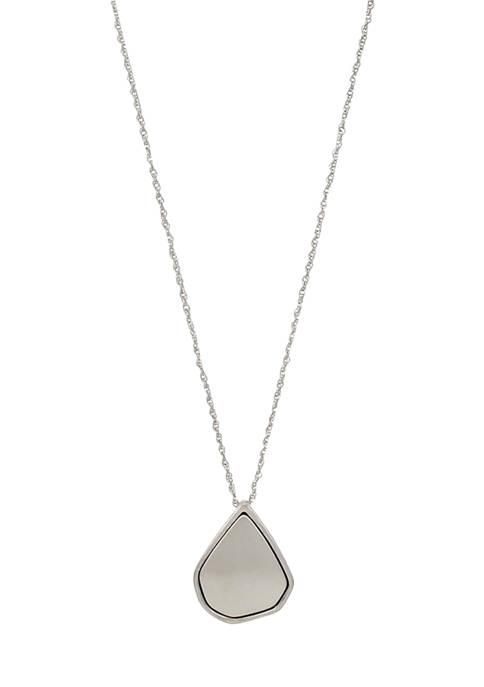 Belk Silver Tone Long Teardrop Nugget Pendant Necklace