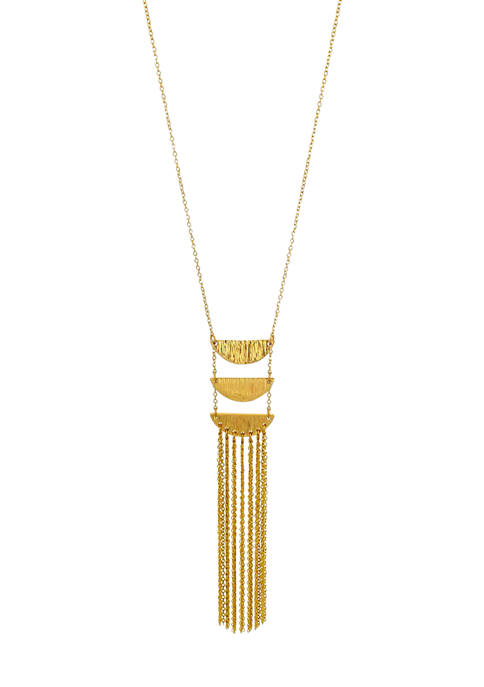 Gold Tone Long Triple Linked Crescents with Chain Tassel Necklace