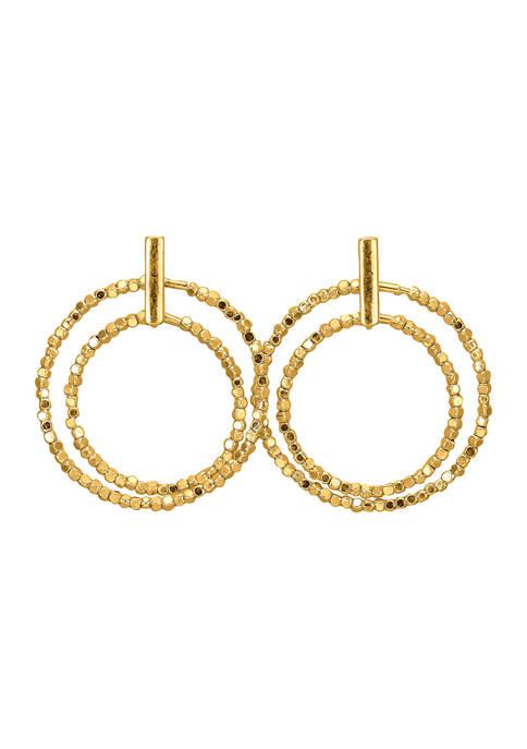 Belk Gold Beaded Double Ring Post Drop Earrings