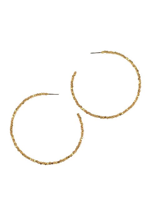 Belk Gold Large Open Bead Post Hoop Earrings
