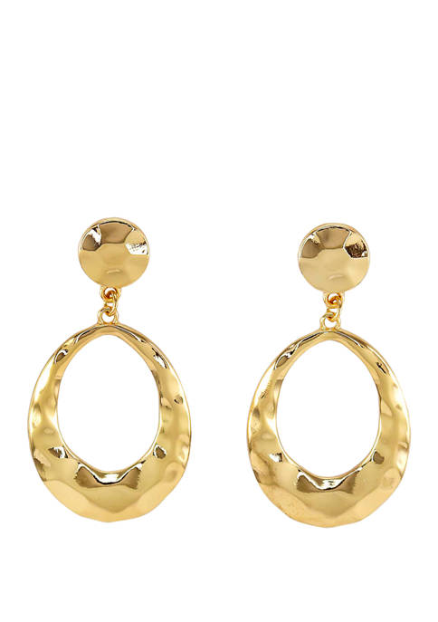 Hammered Post with Open Oval Drop Earrings