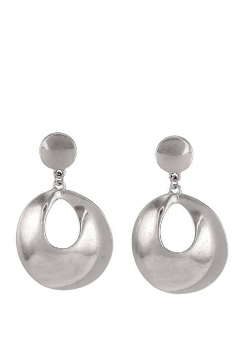 New Directions® Circular Post Wide Teardrop Earrings