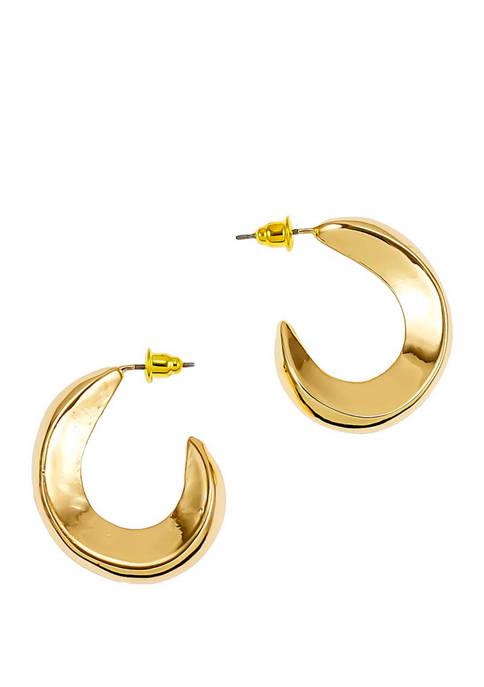 Medium Curved Post J Hoop Earrings