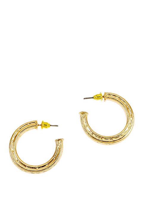 Textured Post J Hoop Earrings