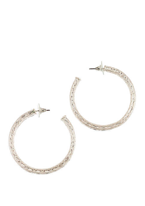 New Directions® Textured Large J Hoop Earrings