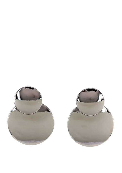 Post Double Round Drop Earrings