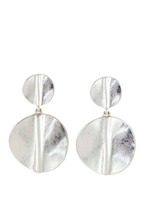 Double Circle Drop with Center Crease Earrings