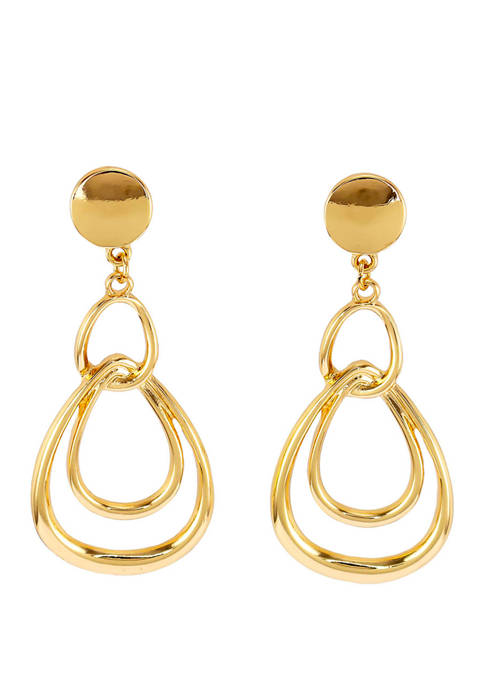 Round Post with Interlocking Oval Drop Earrings