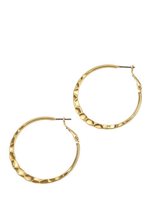 New Directions® Gold Tone Medium Crinkle Edge Hoop