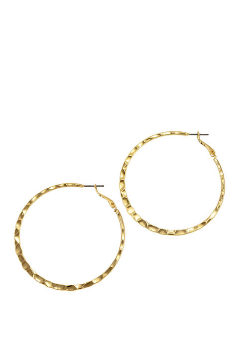 New Directions® Medium Textured Edge Hoop Earrings
