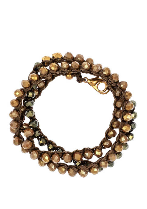 Gold Tone Woven Bead Wrap Bracelet