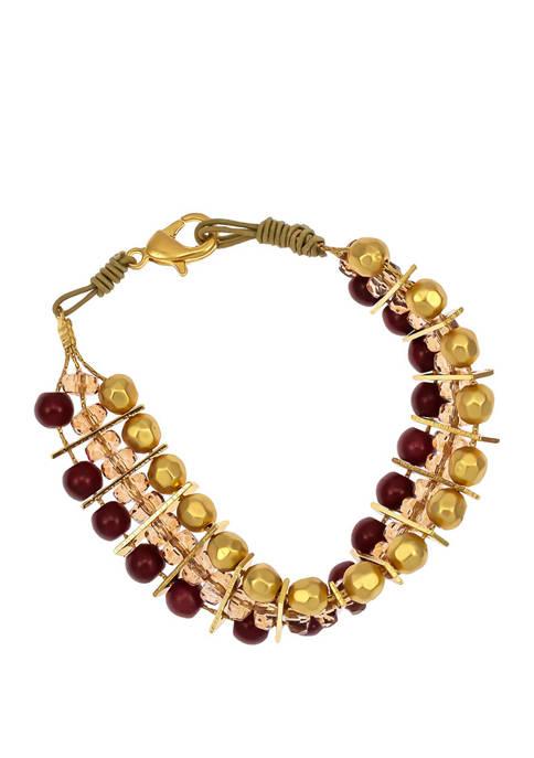 New Directions® Gold Tone 3 Row Beaded Bracelet