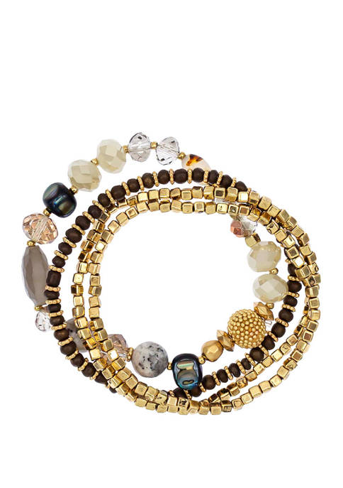 New Directions® Gold Tone 4 Row Stretch Bracelet