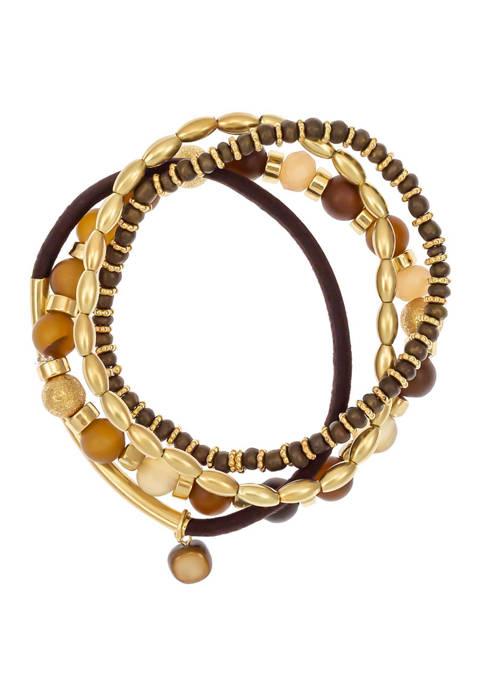 Gold Tone 4 Row Stretch Bracelet