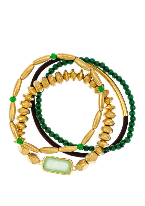 New Directions® 4 Row Jade Gold Tone Multi