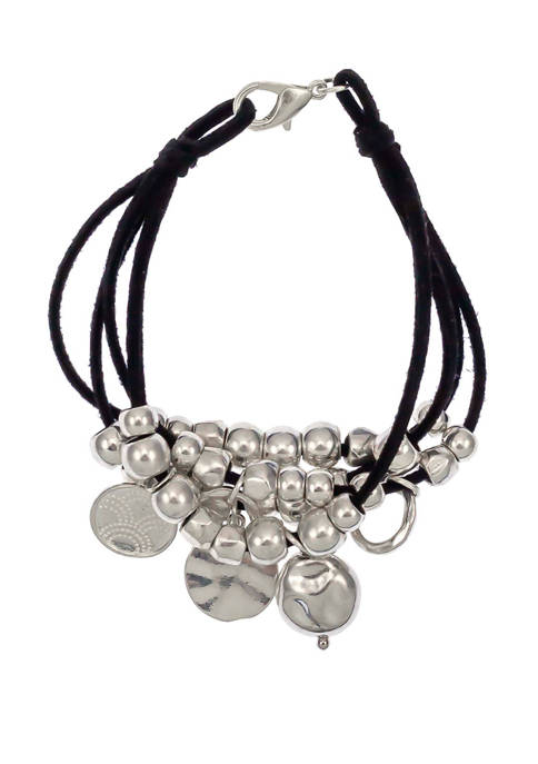 New Directions® 4 Row Black Silver Bracelet with