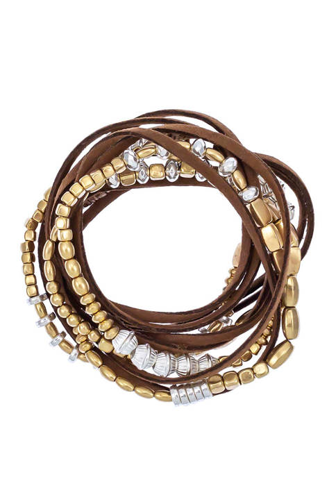 New Directions® Brown 2 Tone Wrap Bracelet