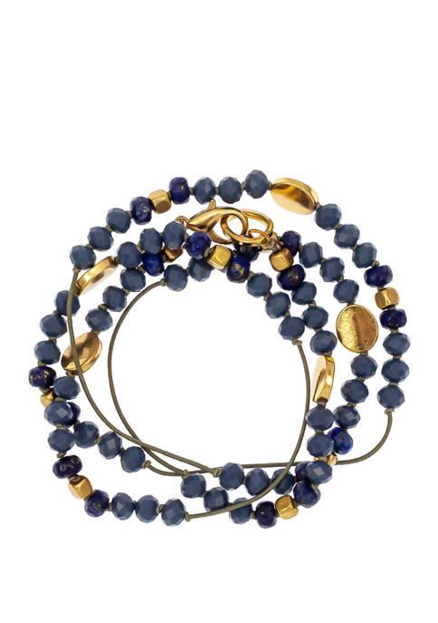 Blue Gold Tone Wrap Bracelet