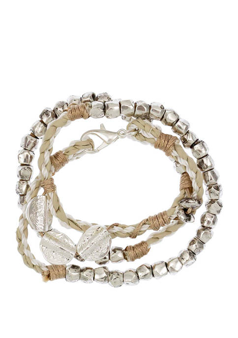 Silver Tone Natural Wrap Bracelet