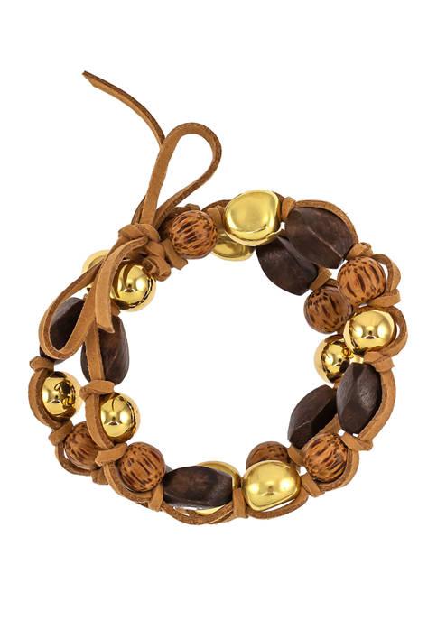 2 Row Chunky Wooden Bead Stretch Bracelet