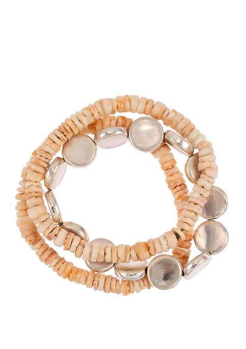3 Row Stretch Disc Bracelet