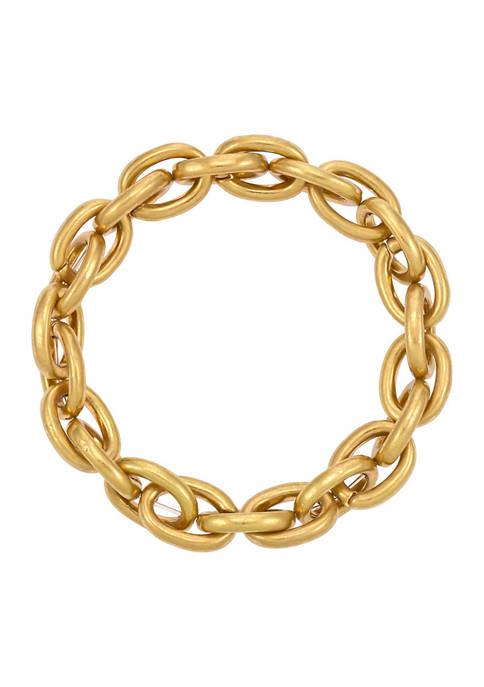 Gold Tone Chain Link Stretch Bracelet