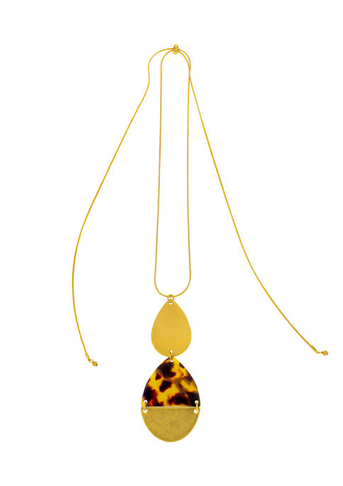 Gold Tone 32 Inch +  3 Inch Extender Long Double Tortoise and Gold Teardrop Pendant Necklace