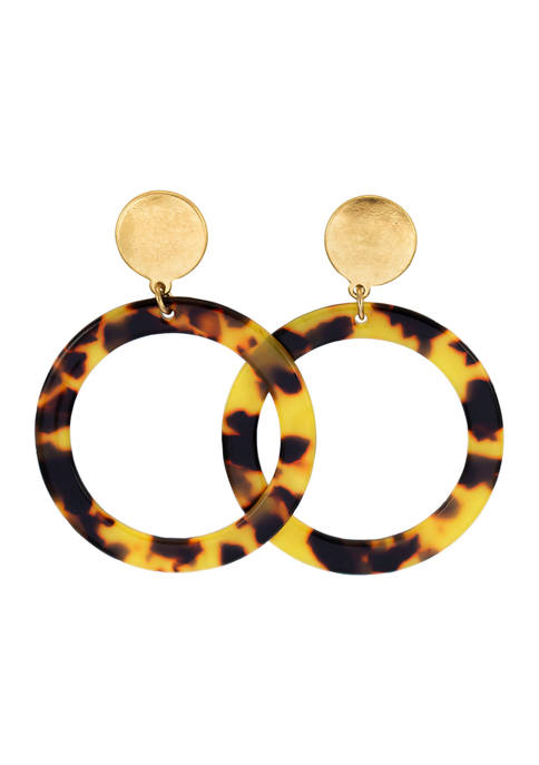 New Directions® Gold Tone Open Tortoise Round Drop