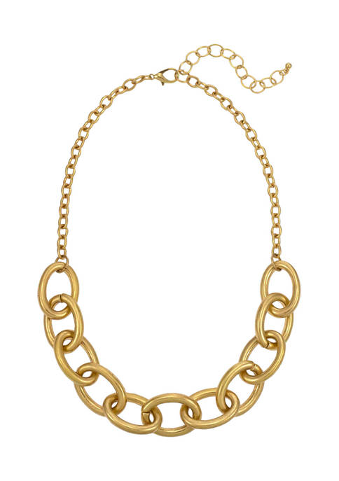 Short and Large Oval Link Frontal Necklace in Gold Tone Metal