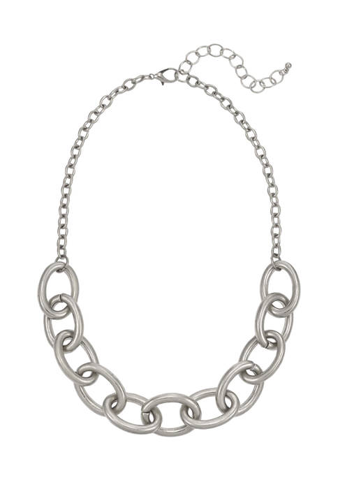 Silver Tone Short Large Link Frontal Necklace