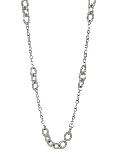 Long Chain Link Necklace with Oval Link Stations in Silver Tone Metal