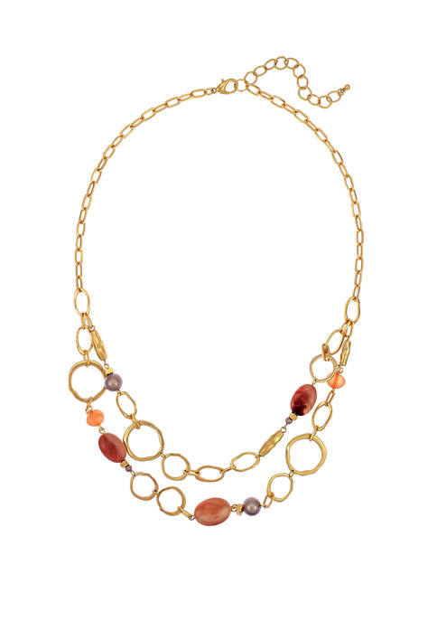 2 Row Short Beaded Chain Necklace
