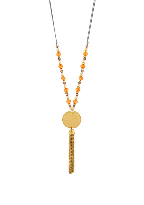 Colored Bead Gold Disc Necklace with Chain Tassel