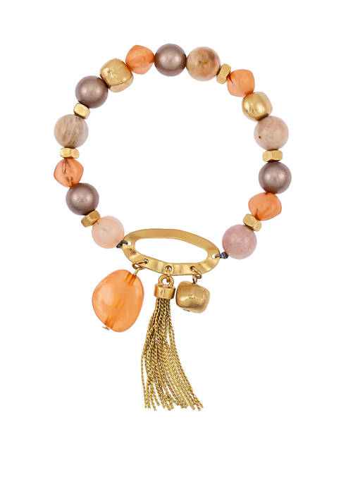 Colored Beaded One Row Stretch Bracelet with Tassel Drop