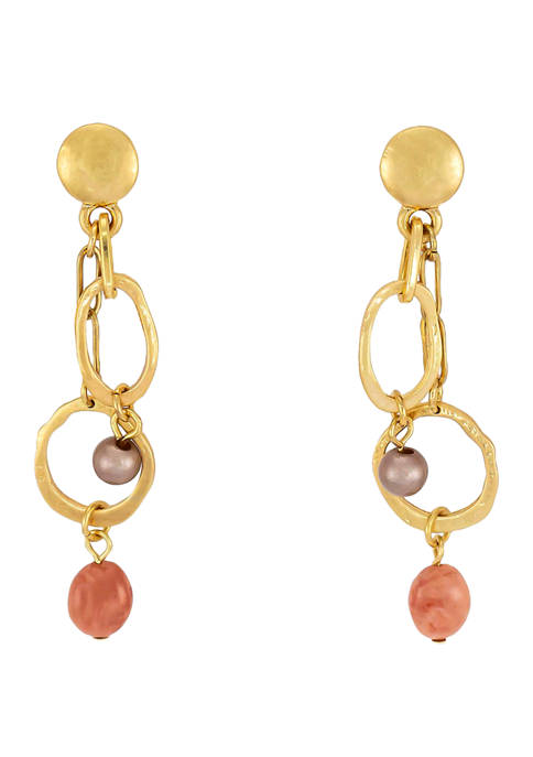 New Directions® Double Chain Colored Bead Drop Earrings