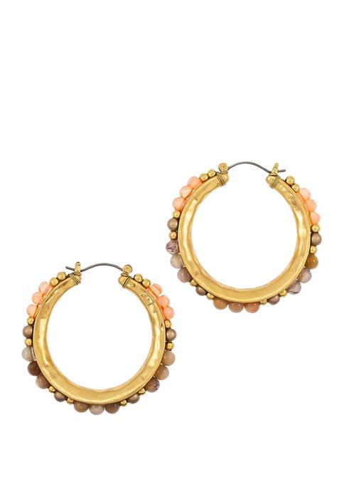 Circle Bead Hoop Earrings